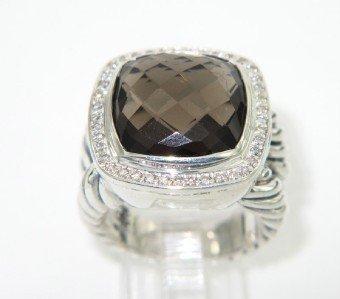 David Yurman Silver, Smoky Topaz & Diamond Ring.
