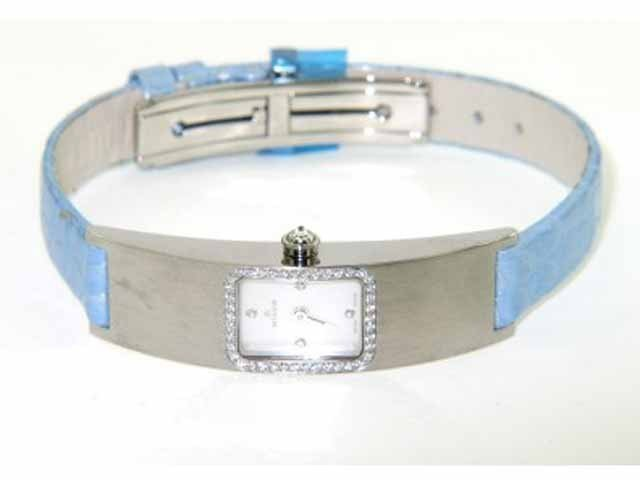 Milus Stainless Steel Diamond Leather Strap Watch