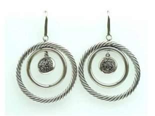 David Yurman Silver, Black Diamond Earrings