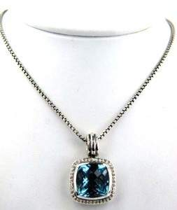 David Yurman Silver Blue topaz & Diamond Necklace