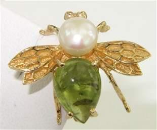 14K Yellow Gold Peridot & Pearl Pin