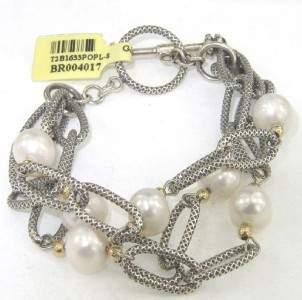 Silver /14K Yellow Gold Pearl Bracelet