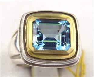 Slane & Slane 18K Gold&Silver Blue topaz Ring