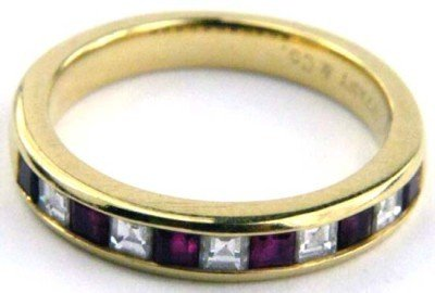 Tiffany & Co Yellow Gold  Diamond and Ruby Ring