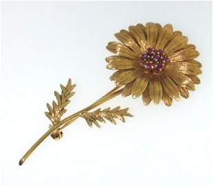 Tiffany & Co 18k Yellow Gold Ruby Pin