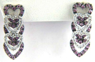 14K White Gold Diamond and Pink Sapphire Earrings