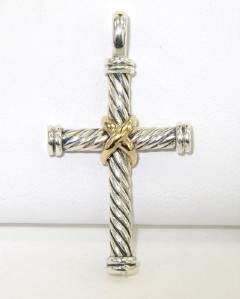 David Yurman Silver /18K Yellow Gold Cross Pendant