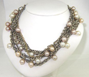David Yurman Silver / 18K Yellow Gold Pearl Necklace