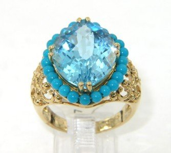 14K Yellow Gold Blue Topaz & Turquoise Ring