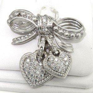 Judith Ripka 18K White Gold Diamond Pin