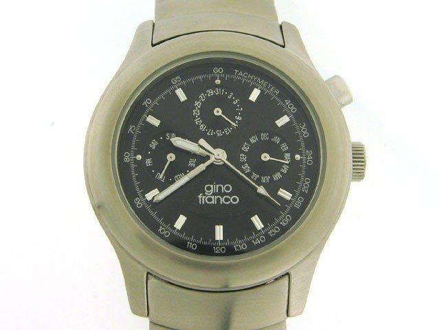 Gino Franco Men's Stainless Steel Wave Bracelet Watch