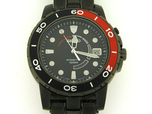 Seiko Men's SKA389 Kinetic Black Ion Watch