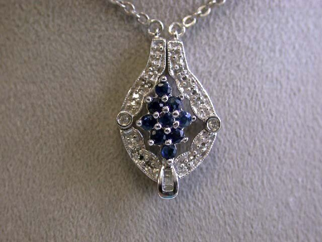 White Gold Necklace with Diamonds and Sapphires