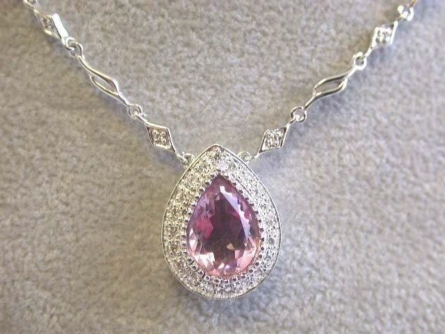 EFJ 14kw Gold Diamond Necklace with Pink Quartz