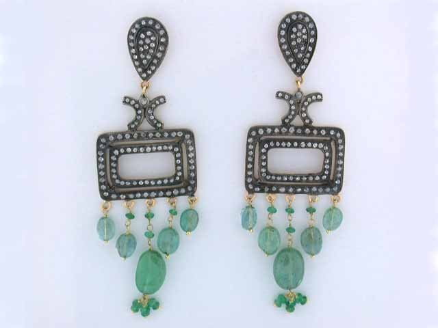 18k Gold and Silver Earrings with Emerald and Diamo