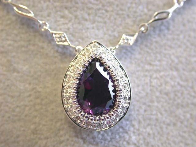 EFJ 14kw Gold Diamond Necklace with Amethyst Pendan