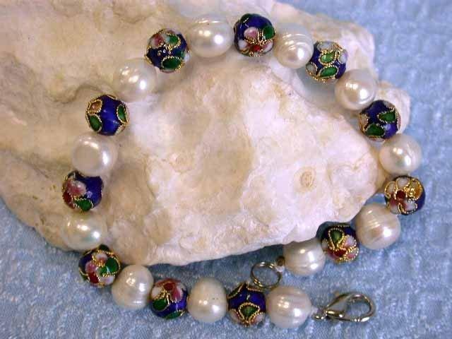 Pearl and Enamel Bracelet