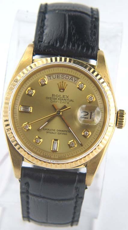 2: Rolex 18K Yellow Gold Leather Strap President Watch