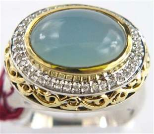 Charles Krypell 18K Gold/Silver Diamond Chalcedony Ring