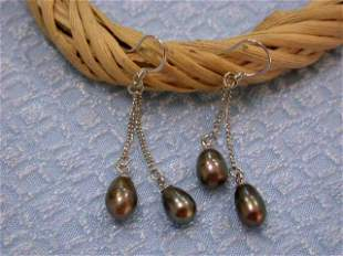 Dangling Pearl and Silver Earrings