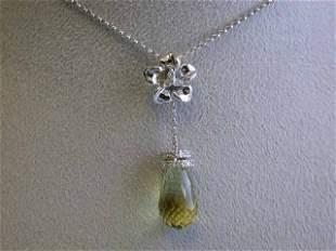 14kw Gold Necklace with Quartz and Diamond Pendant