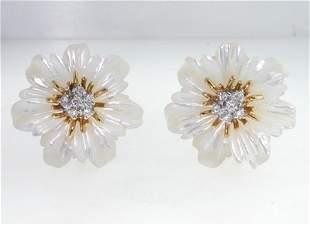 18K Yellow Gold Flower Diamond Earrings
