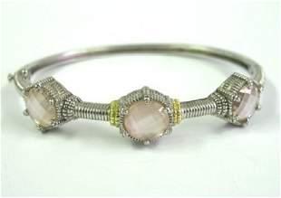 Judith Ripka 18K Gold/Silver, Pink Quartz Bangle