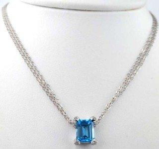 14K White Gold Blue Topaz Diamond Necklace