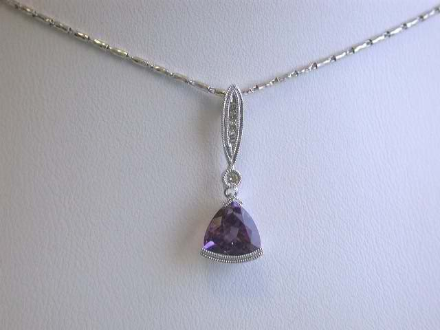 14k White Gold Necklace with Amethyst & Diamond Pendant