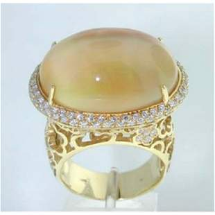 18K Yellow Gold Moonstone,Diamond Ring