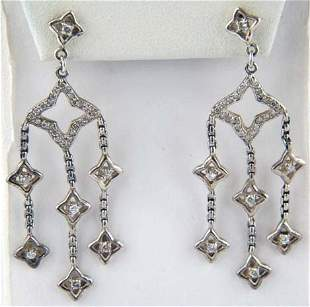 David Yurman Silver Diamond Earrings