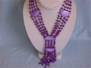 Dyed Shell and Dyed Mother of Pearl Necklace