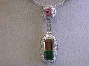 18k White Gold Necklace with Tourmaline and Diamonds