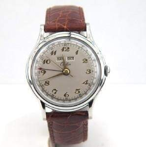 Croton Stainless Steel Leather Strap Watch