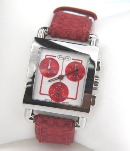 Coach Stainless Steel Chronograph Leather Strap Watch