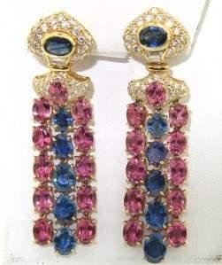 Salavetti 18K Yellow Gold Diamond Sapphire Earrings
