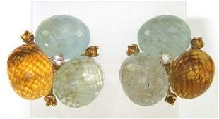 18K Yellow Gold Multi-colored Stones Diamond Earrings