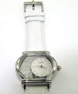 Azad Stainless Steel White Leather Strap watch