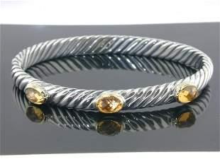 David Yurman 18k Yellow Gold/Silver Citrine Bangle!