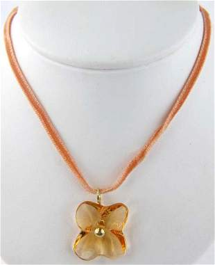 Baccarat 18K Yellow Gold/Yellow Citrine Necklace
