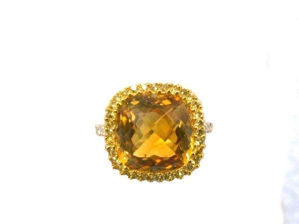 EFJ 14kw Gold Ring with Sapphire, Citrine & Diamond
