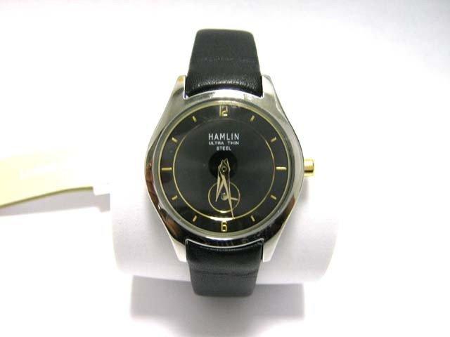 3D: Hamlin Ladies Classic Black Leather Strap Watch