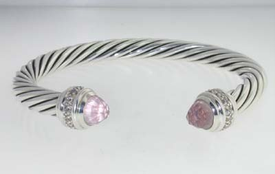 David Yurman Silver Pink Quartz & Diamond Bangle
