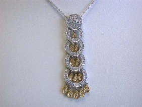 14k Gold Pave Round Setting with Diamond Necklace