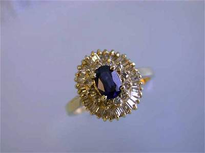 14k Yellow Gold Diamond Ring with Sapphire