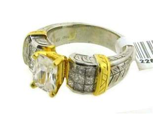 Platinum & Gold Ring with Diamond Accents (Semi-mount)