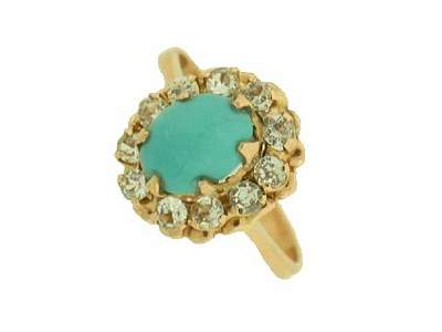 14k Diamond and Turquoise Ring