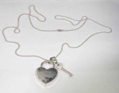 6B: Tiffany & Co Silver Heart Lock & Key Pendant Neckla