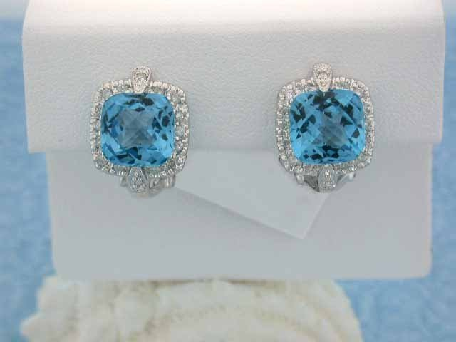 18k White Gold Earrings with Diamonds and Topaz