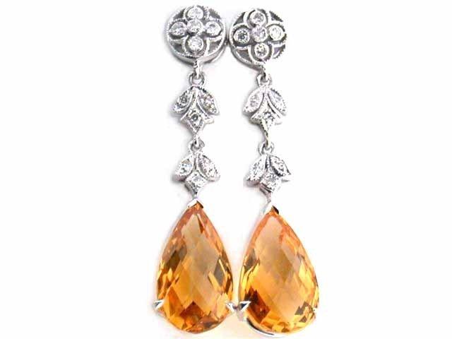 18k White Gold Diamond Earrings with Citrine